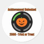 Trick or Treat - Achievement Unlocked Round Stickers