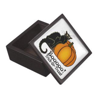 Trick-Or-Treat Art Neouvou Black Cat & Pumpkin Jewelry Box