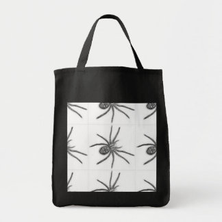 TRICK OR TREAT BAG BLACK AND WHITE SPIDERS
