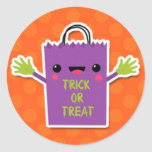 Trick or Treat Bag Design Round Stickers