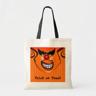 Trick or Treat Bag - Halloween Orange Scary face
