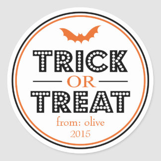 Trick Or Treat Bat Favor Sticker (Black / Orange)