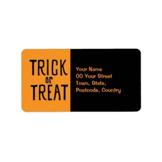 Trick or Treat black Address Label label