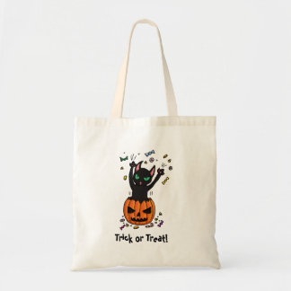 Trick or treat black cat jumping from pumpkin tote bag