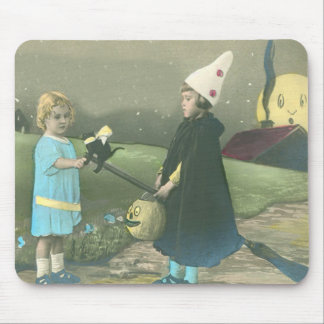 Trick Or Treat Black Cat Man In The Moon Mouse Pad