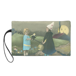 Trick Or Treat Black Cat Man In The Moon Wristlet Purse