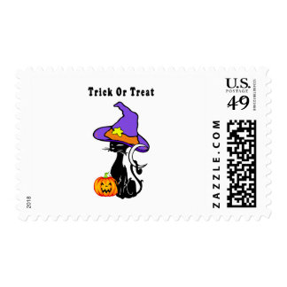 Trick or Treat Black Cat Postage Stamps