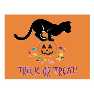 Trick or Treat Black Cat Postcard