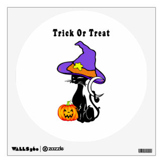 Trick or Treat Black Cat Wall Decal