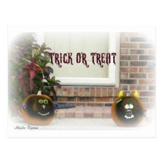Trick or Treat Black Ghoulie Faced Pumpkins Postcard