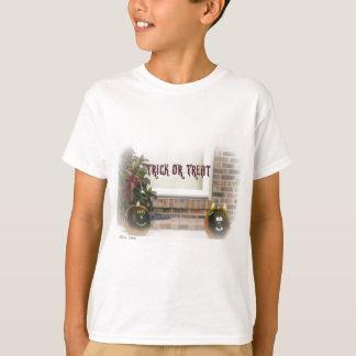 Trick or Treat Black Ghoulie Faced Pumpkins T-Shirt
