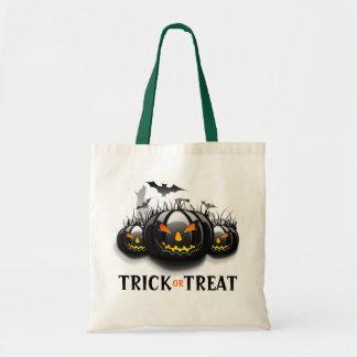 Trick Or treat Black Halloween Pumpkins 2 Tote Bag