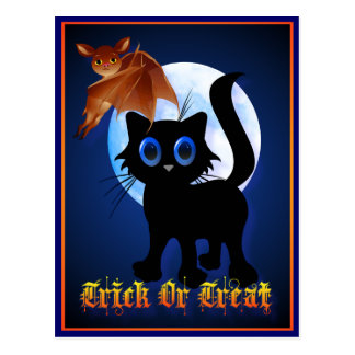 Trick or Treat Black Kitty and Bat Postcard