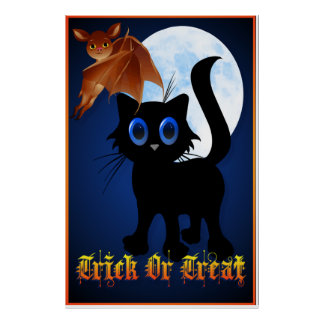 Trick or Treat Black Kitty and Bat Poster