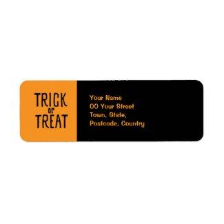 Trick or Treat black Return Address Label label
