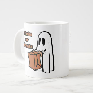 Trick or treat - Boo - cartoon ghost - baby ghost Large Coffee Mug