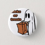 Trick or treat - Boo - cartoon ghost - baby ghost Pinback Button