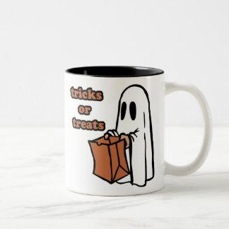 Trick or treat - Boo - cartoon ghost - baby ghost Two-Tone Coffee Mug