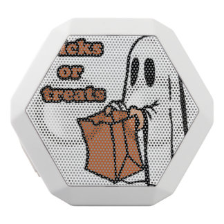 Trick or treat - Boo - cartoon ghost - baby ghost White Bluetooth Speaker