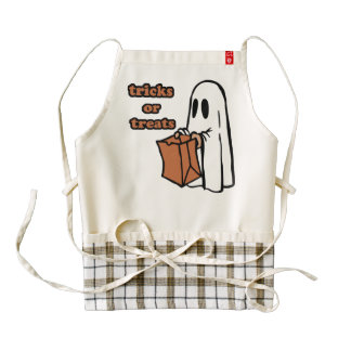 Trick or treat - Boo - cartoon ghost - baby ghost Zazzle HEART Apron