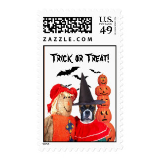 Trick or Treat boxer dog postage