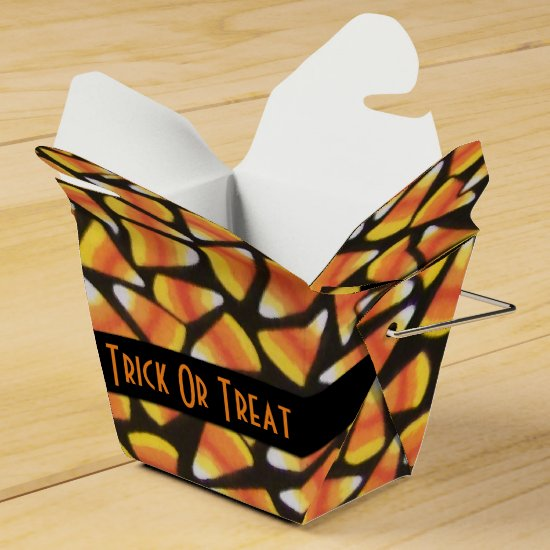 Trick Or Treat Candy Corn Take-Out Favor Box