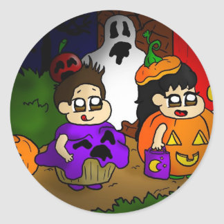 Trick or treat classic round sticker
