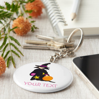 Trick or Treat Custom Name Halloween Toddler Witch Basic Round Button Keychain