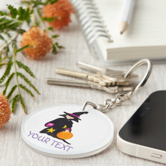 Trick or Treat Custom Name Halloween Toddler Witch Double-Sided Round Acrylic Keychain