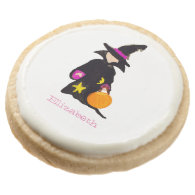 Trick or Treat Custom Name Halloween Toddler Witch Round Premium Shortbread Cookie