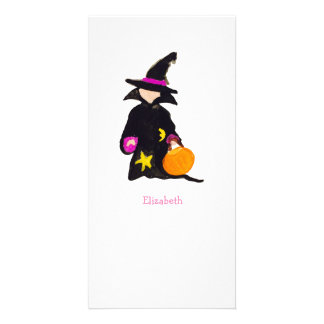 Trick or Treat Custom Name Halloween Toddler Witch Photo Card