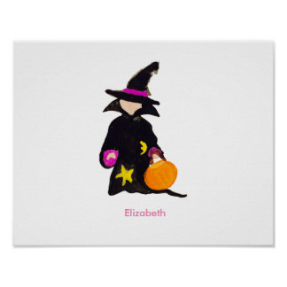 Trick or Treat Custom Name Halloween Toddler Witch Poster