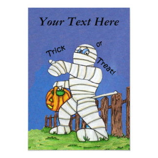 Trick or Treat Cute Cartoon Mummy Halloween Magnetic Card