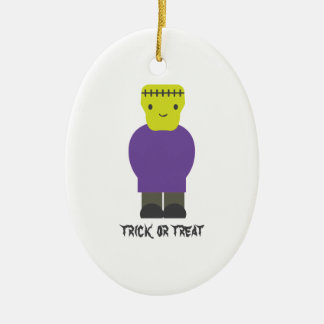 Trick or Treat- Cute Frankenstein Ceramic Ornament