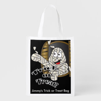 Trick or Treat Cute Funny Halloween Mummy Reusable Grocery Bags