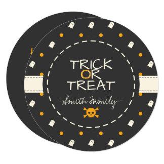 Trick or Treat. Cute Ghost Pumpkin Polka Dots. Card