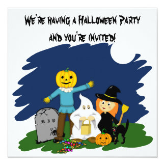 Trick or Treat Cute Halloween Party Invitation
