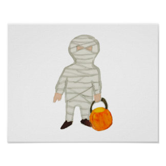 Trick or Treat Cute Halloween Toddler Mummy Zombie Poster