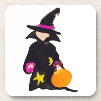 Trick or Treat Cute Halloween Toddler Witch Drink Coaster