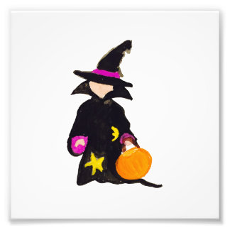 Trick or Treat Cute Halloween Toddler Witch Photo Print