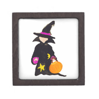 Trick or Treat Cute Halloween Toddler Witch Premium Jewelry Box