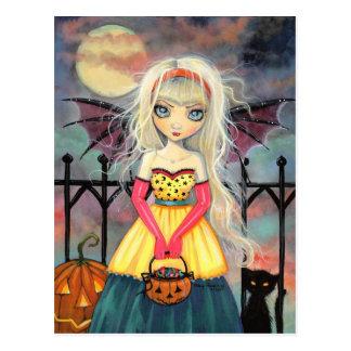 Trick or Treat Cute Halloween Vampire and Cat Postcard