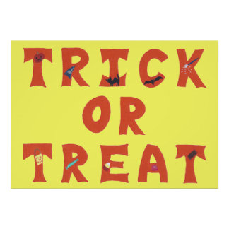 Trick or Treat Decorated Halloween Posters