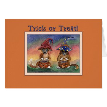 Halloween Themed Trick or Treat! Dogs with pumpkin pails halloween Card