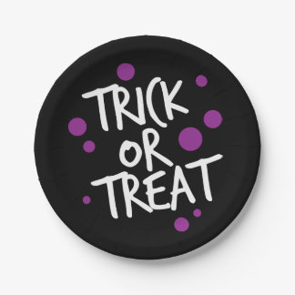 TRICK OR TREAT DOTS | HALLOWEEN PARTY PLATE 7 INCH PAPER PLATE