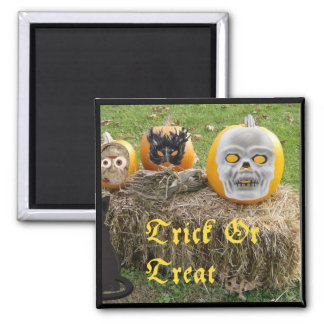Trick Or Treat Eerie Pumpkins on Haystack 2 Inch Square Magnet