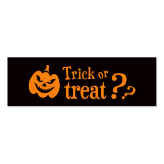 Trick or treat evil pumpkin Halloween Double-Sided Mini Business Cards (Pack Of 20)