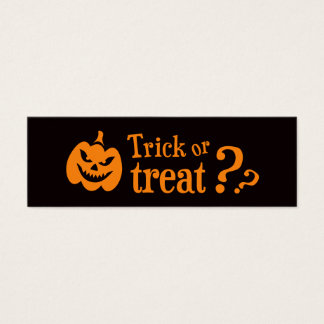 Trick or treat evil pumpkin Halloween Mini Business Card