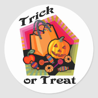 Trick or Treat Family Friendly Pumpkin & Candy Classic Round Sticker
