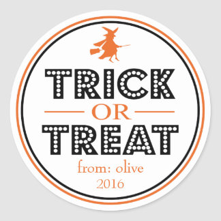 Trick Or Treat Flying Witch (Black / Orange) Classic Round Sticker